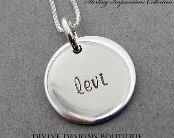 Double Sided Necklace - Personalized Gift - Sterling Impressions REVERSED Engraved Personalized Double Sided Necklace
