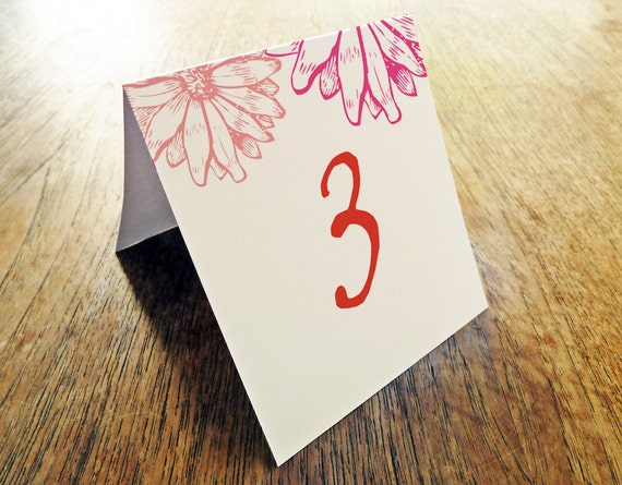 Printable Table Number - Table Number Template - Instant Download - Wedding Table Number PDF - Pink and Daisies - Pink & Red Table Number