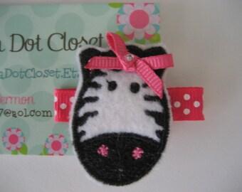 Boutique felt zebra hair clip barrette