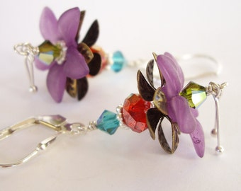 Tropical Beauty in Red - Lucite Flower, Swarovski Crystal, Sterling Silver, Brass