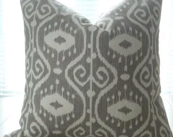 BOTH SIDES-- Ikat - Lumbar and Throw Size Pillows-  Decorative Designer Cover -Medium Grey /Creamy Ivory -Grey