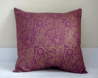 Metallic gold paisley hand block printed on wild cherry linen home decor decorative pillow case