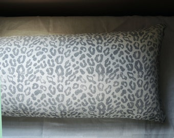 "Extra long hand block printed gray leopard on white linen modern minimalist home decor decorative pillow 14"" x 36"""