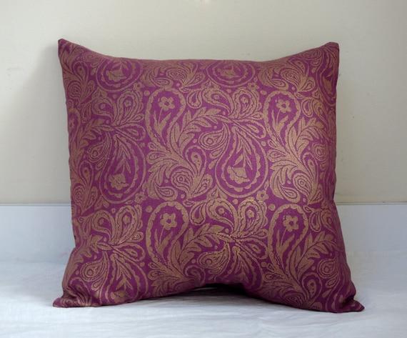 Metallic gold paisley hand block printed on wild cherry linen home decor decorative pillow case
