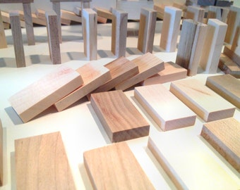 125 Domino Size Blocks - made from reclaimed white oak wood