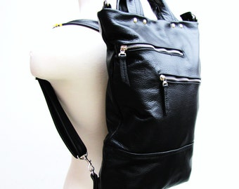 Black unisex leather convertible briefcase messenger bag and backpack