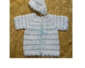 Baby Girl's Pastel Confetti Banded Cardigan and Hat Aweater Set