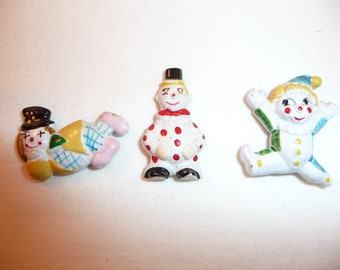 3 Teeny Tiny Enamel Clown Magnets from Korea