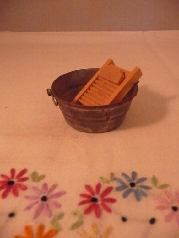 Adorable Vintage Miniature Dollhouse Tin Wash Tub and Wood Washboard