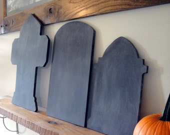 Halloween Tombstone Chalkboard Trio - Ready to Ship