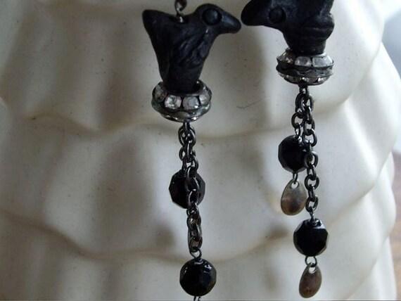 Vintage Tribal Bird Beads Rhinestone Dangle Earrings Assemblage