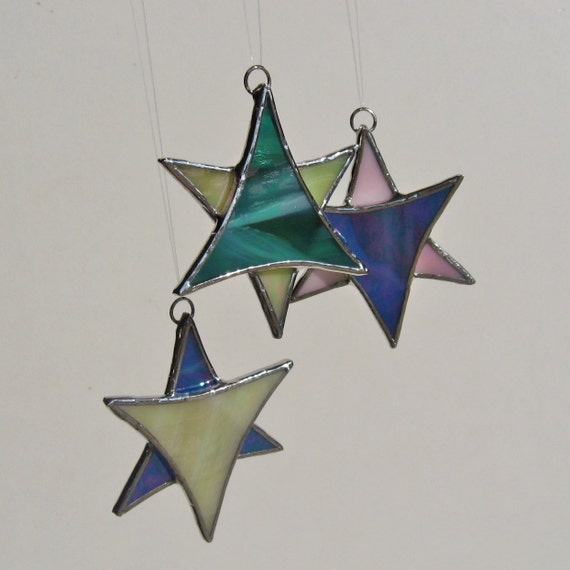 Set of Three - Iridescent Variety Colors Stained Glass Star Christmas Ornaments or Suncatchers