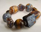 Polymer Clay and art glass bracelet