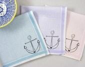 Anchor Handkerchiefs, 3 Silk-Screened Sneezy Sheets