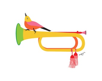 Music wall art print- Bugle illustration- musical instrument,bird art print,music poster,bird wall decor,music room decor,music lover gift,