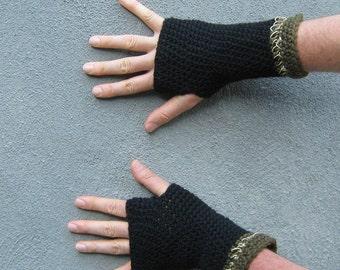 men's fingerless gloves/ black wool n' hemp
