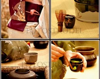 "Set of 4 Photographs of a Japanese Tea Ceremony or Chanoyu. Japan. 5"" x 5"" Photos"