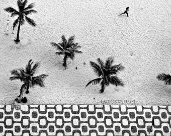 Rio de Janeiro Brazil Photograph. Running on Ipanema Beach/Mosaic Pattern / Marathon / Runner. Various Sizes