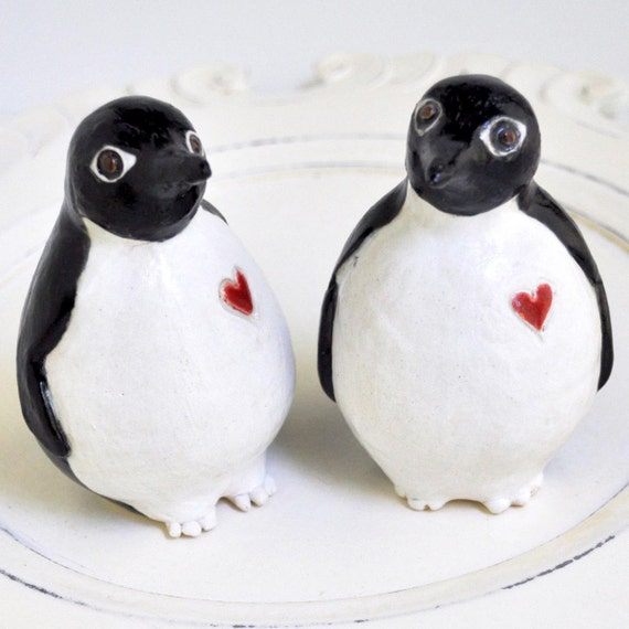 Penguin wedding cake topper - handmade wedding cake pair ceramic birds sculpture