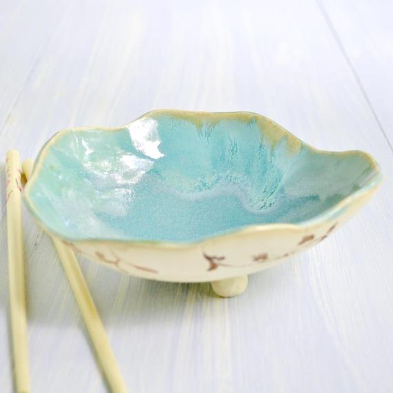 modern Ceramic Bowl  minimalist ceramics turquoise Urban Rustic vine pattern 10 oz
