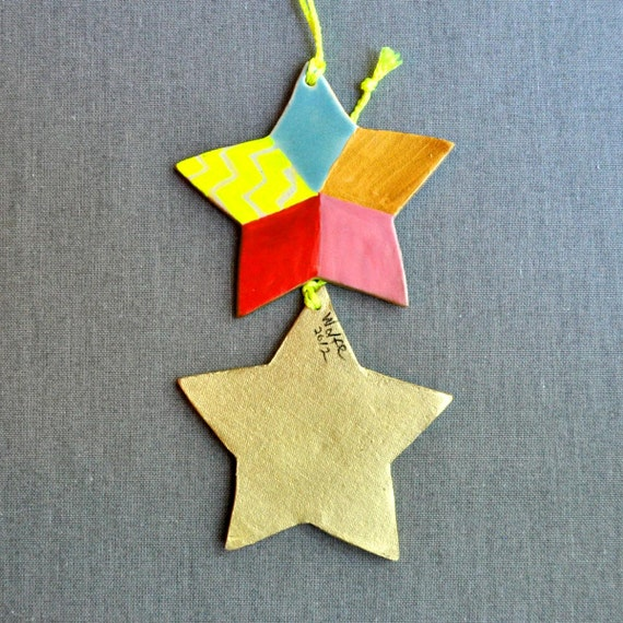Star Ornament  Christmas decor modern geometric ornament Neon Christmas collection
