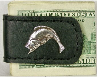 Handcrafted Leather Money Clip with Bass Concho