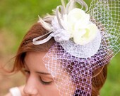 Bridal Fascinator  - wedding fascinator with veil KISS ME