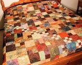 Masculine Queen Size Bed Quilt - Fall Migration in Batiks