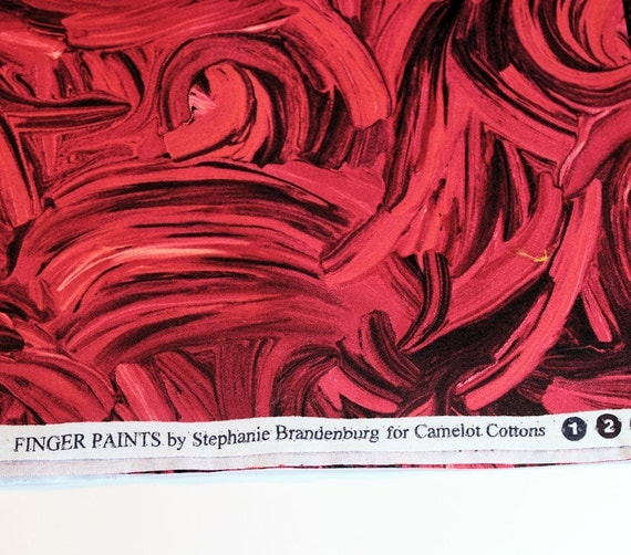 Finger Paints Cotton Fabric by Stephanie Brandenburg, Red and Black, One Yard, More Available