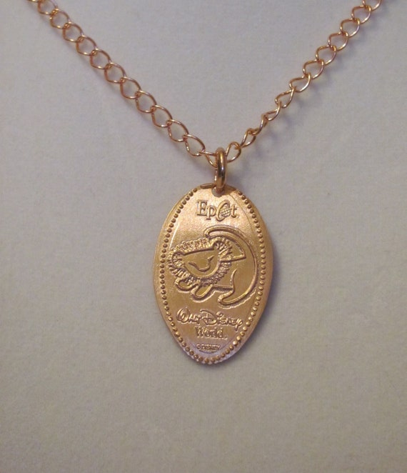 Disney World Epcot Simba Lion King pressed penny pure copper necklace
