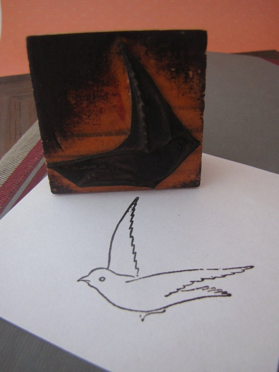 Vintage French Rubber Stamp Bird Swallow in Flight