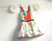 Girl's Upcycled Dress 5T Vintage Little Orphan Annie Toddler Sundress Coral Green Summer Children's Clothing 'COMIC BABY'