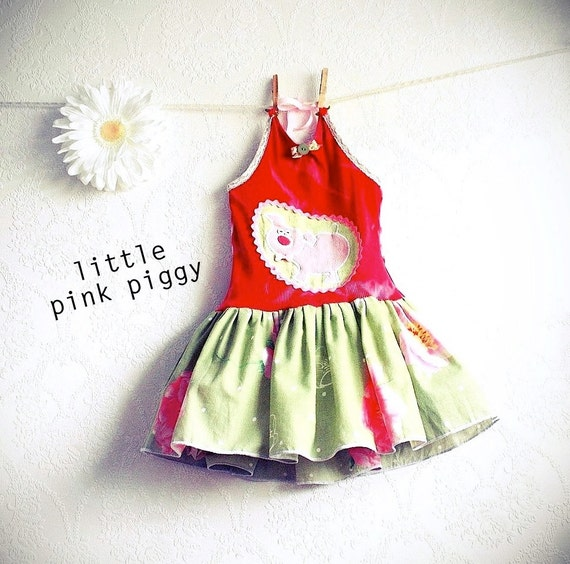 Toddler's Halter Dress 4T Pink Pig Mint Green Upcycled Sundress Eco Friendly Girl's Clothes Children's Clothing 'BABE'