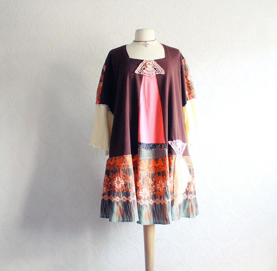Bohemian Style Plus Size Dress 4X 5X Women's Clothes Orange Fall Colors Upcycled Clothing Wearable Art Eco Fashion 'EDEN'