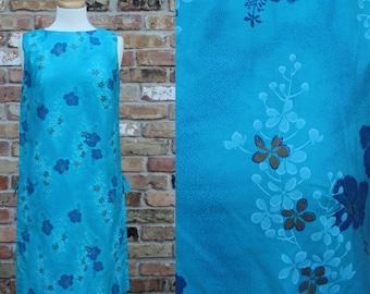 Vintage BLUE Royal Hawaiian Dress / Sleeveless / Shift Dress / Floral