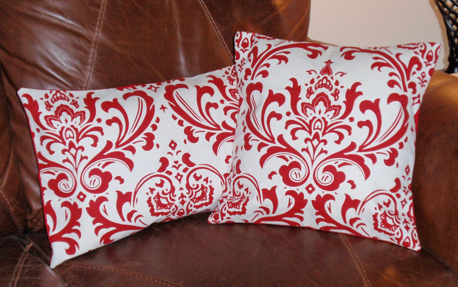 Throw Pillows Damask : Throw Pillow Covers Red & White Damask Elegant by PersnicketyHome