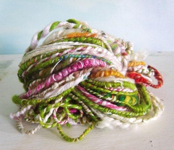 Hand spun yarn Coil Bulky corespun 'summer time happines' Art Yarn  26yards  Silk