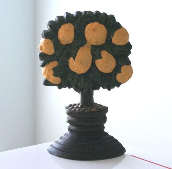 Vintage Cast Iron Lemon Tree Door Stop