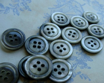 One Dozen Vintage Grey Plastic Buttons Rainfall Collection
