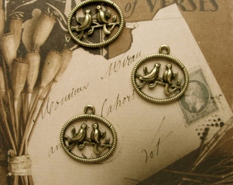 3  Antiqued Bird Charms/Stampings for my Garden Journal