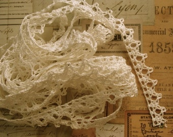 Antique Fine Crochet 3 Yards Old Ivory Lace Lot