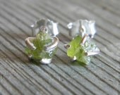 Rustic Prong Set Raw Peridot Stud Earrings Apple Green