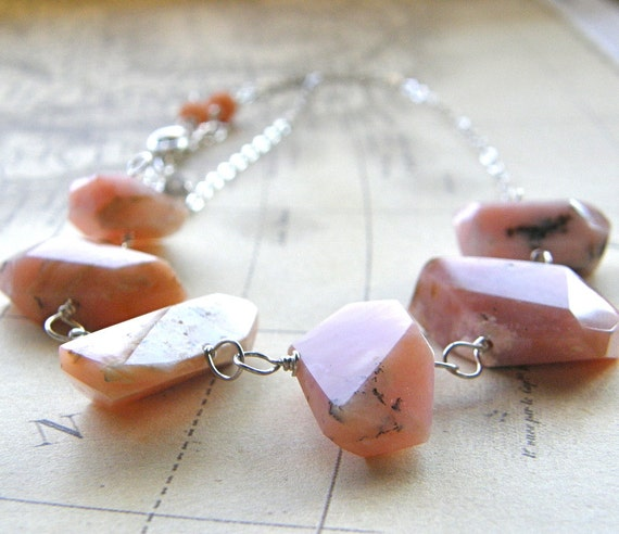 Pink Opal Necklace, Chunky Pink Necklace, Pink Statment Necklace, Rough Cut, Blush Rose Bridal Necklace