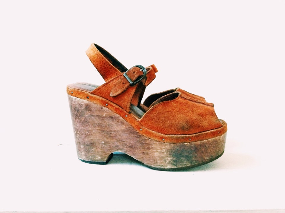 70s platform sandals wood platforms bare traps sandals