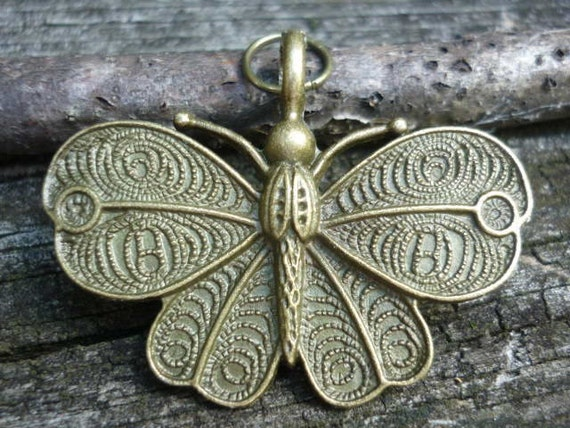 Bronze Butterfly Pendant Charm