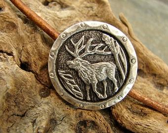 Rustic Elk - Unique  Metal Shank Button - 3 Pieces - Perfect For Leather Wrap Bracelets - LARGE - B46