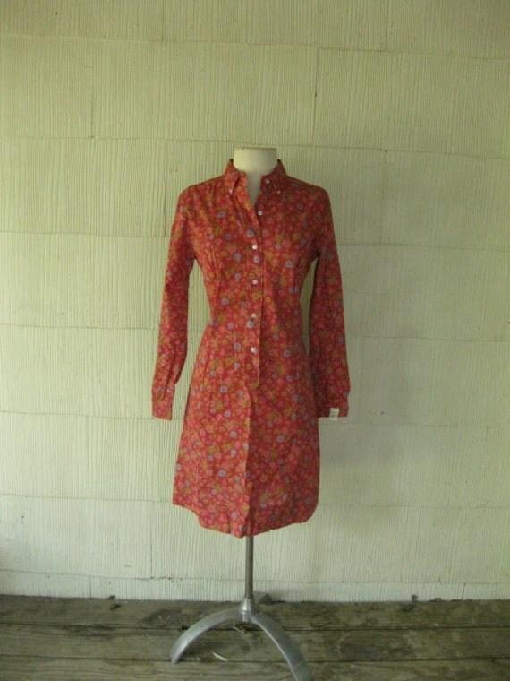 VINTAGE 70s floral MOD shirt dress mini deadstock