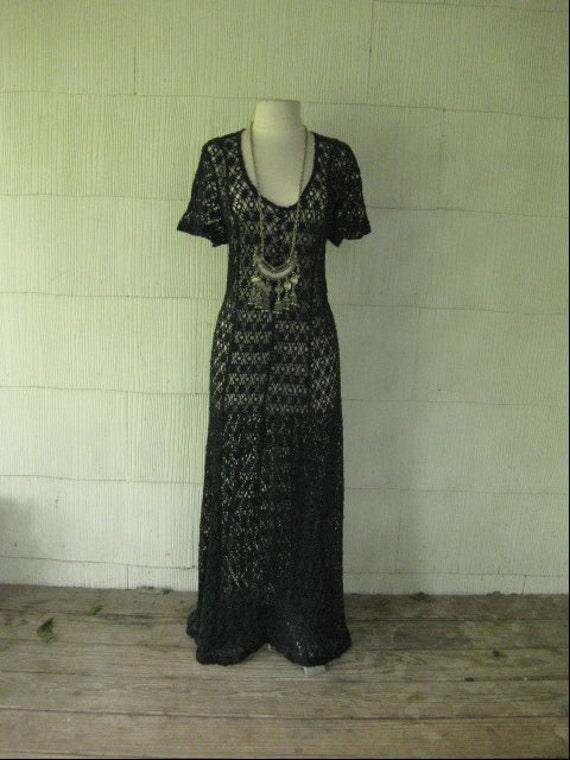 VINTAGE black crochet maxi dress witchy scoopneck