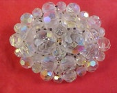 Fabulous AUSTRIAN Rainbow  Crystals RIVOLI  Hand Wired Brooch 28.8 grams
