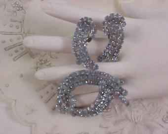 REDUCED~Striking Dynamic JULIANA Blue Sapphire Chaton Demi Parure - Brooch & Clip Earrings